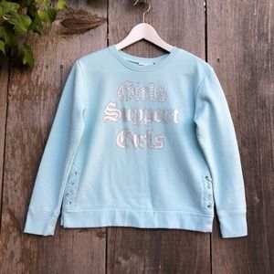 Children's Place pastel blue graphic sweater